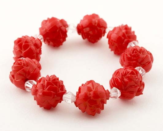 Red Lucite Carved Crystal Rose Bracelet