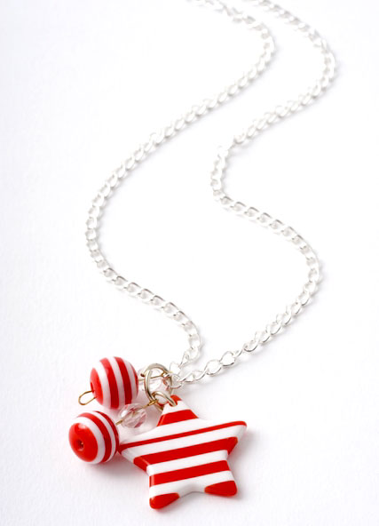 Red & White Striped Star Bead Necklace