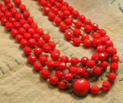 Vintage Red Orange Pressed Glass Bead Necklace
