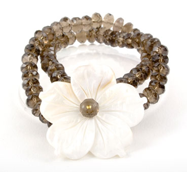 Faceted Smokey Quartz Flower Bracelet