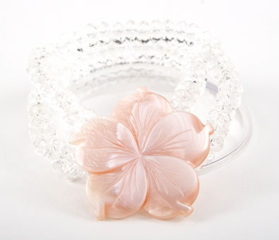 Crystal and Pink Rivershell Flower Bracelet