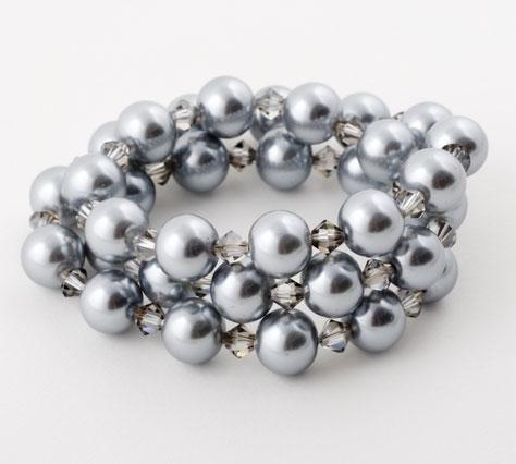 Silver Crystal Pearl Triple Wrap Bracelet