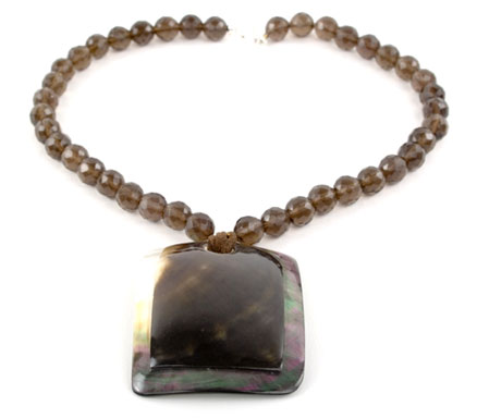 Smokey Quartz Shell Pendant Necklace