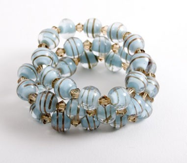 Glass Bead and Toffee Stripe Mint Bracelets