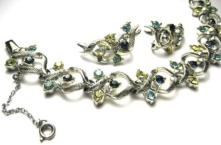 Vintage 1950s Rhinestone Crystal Bracelet and Earring Set