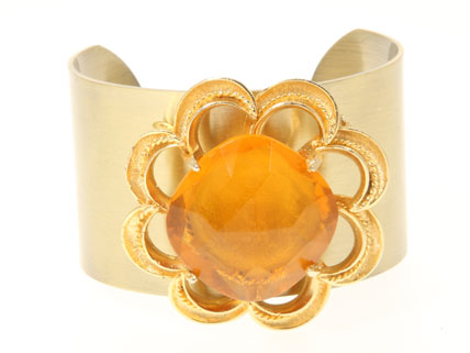 Vintage Amber Jewelled Cuff