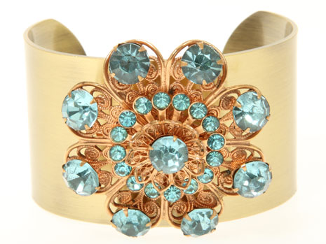 Vintage Blue Crystal Encrusted Jewelled Starburst Cuff
