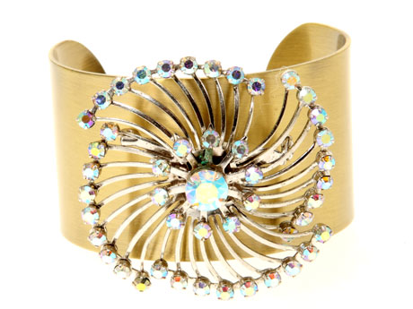 Vintage Jewelled Pin Wheel Brooch Cuff