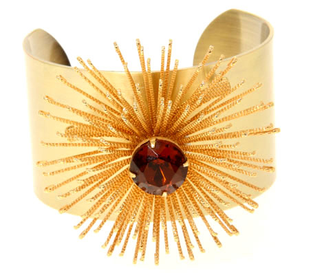 Vintage Gold and Ruby Stone Starburst jewelled Cuff