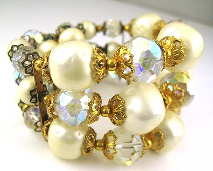 Vintage Crystal Aurora Borealis and Pearl Wrap Bracelet