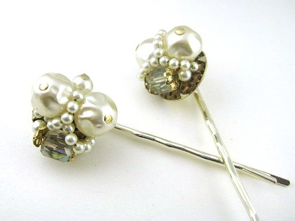 Vintage Cluster Pearl and Crystal Hair Pins