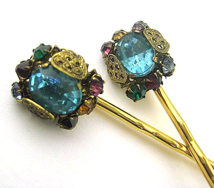 Vintage Filligree Gem Hair Pins