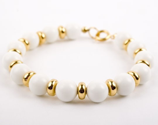 White Jade and Gold Bracelet