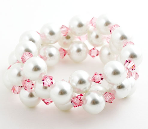 White Crystal Pearl Triple Wrap Bracelet
