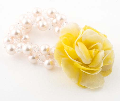 Yellow Vintage Rose Corsage Pearl Bracelet